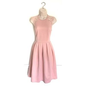 Asos Blush Pink Lace Sleeve Dress